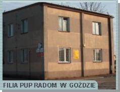 Zdjęcie przedstawia budynek, w którym mieści się Filia PUP w Goździe
