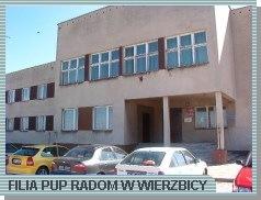 Zdjęcie przedstawia budynek, w którym mieści się Filia PUP w Wierzbicy